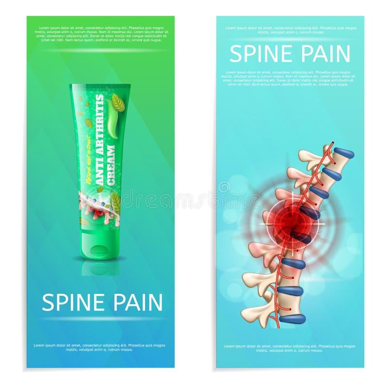 Bannière plate d'ensemble de douleur d'épine de crème d'Antiarthritis illustration libre de droits