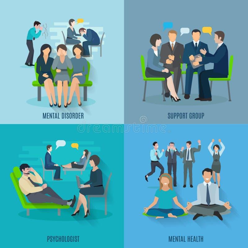 Bannière plate d'icônes de la santé mentale 4 illustration libre de droits