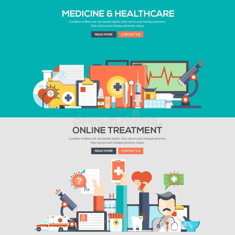 Bannière plate de concept de construction - médecine et soins de santé illustration de vecteur