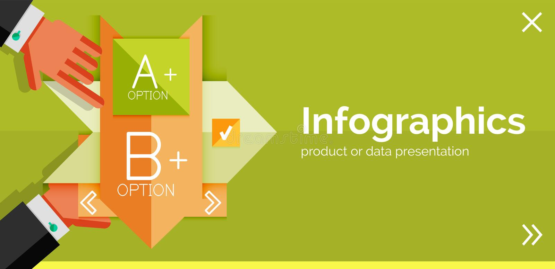 Bannière plate de conception d'Infographic avec des mains illustration libre de droits