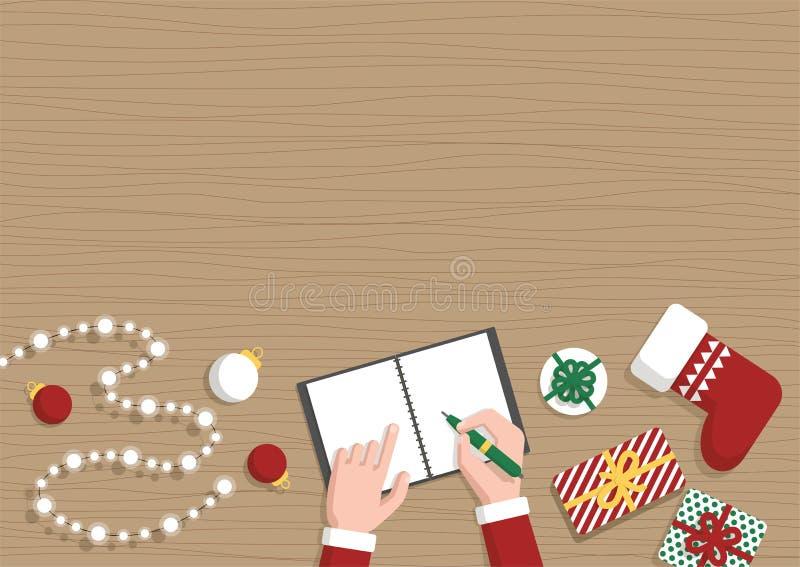 Bannière plate de Noël horizontal conceptuel Santa Claus Workshop illustration stock