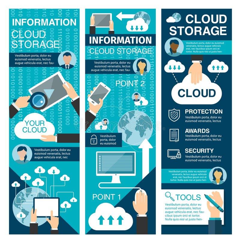 Bannière plate de stockage de nuage pour la technologie de réseau illustration de vecteur