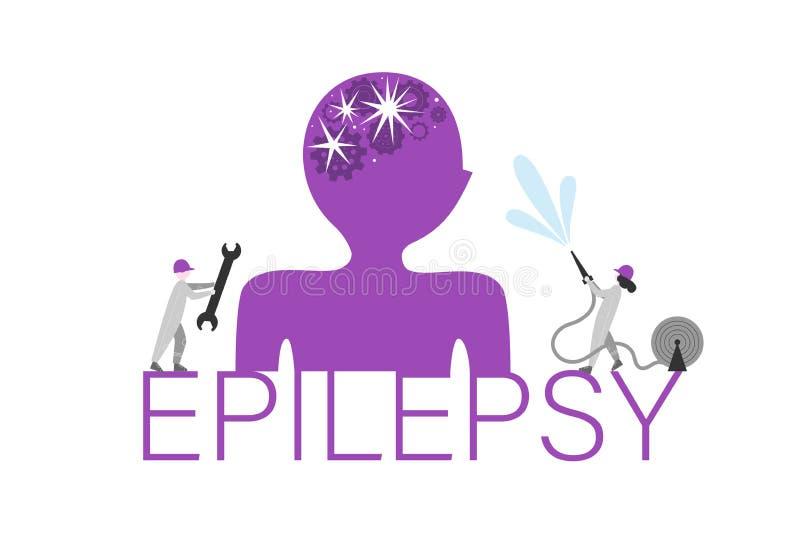 Bannière plate de vecteur de concept de mot d'épilepsie illustration libre de droits