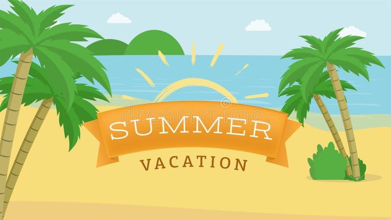 Bannière plate de vecteur de vacances d'été Les enfants campent promotion avec le symbole jaune du soleil de course de brosse, lo illustration stock