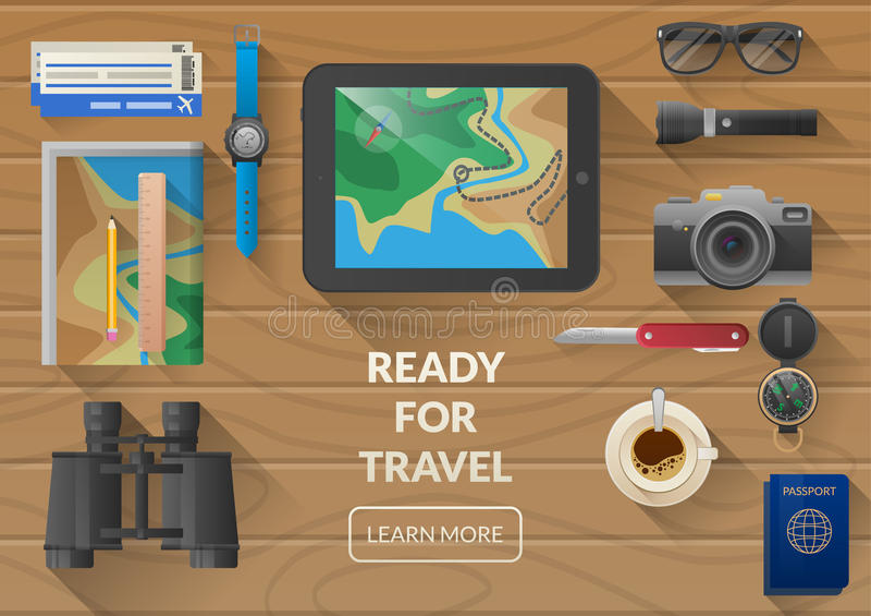 Bannière plate de Web de vecteur sur le thème du voyage, vacances, aventure illustration libre de droits