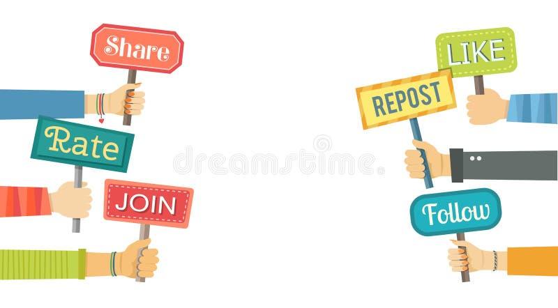 Bannière plate des mains tenant des signes avec des actions sociales illustration de vecteur