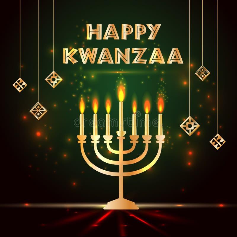 Bannière pour Kwanzaa avec colorée traditionnelle et bougies représentant les sept principes ou Nguzo Saba illustration de vecteur