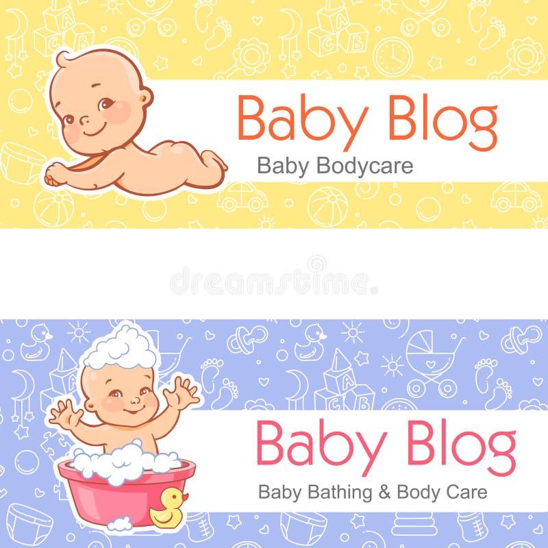 Bannière pour le blog L'enfant s'étendent sur l'estomac Chéri dans le bain illustration libre de droits