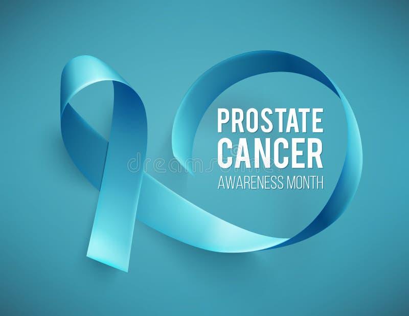Bannière pour le mois de conscience de cancer de la prostate en novembre Espoir de Word avec le ruban bleu réaliste calibre de co illustration libre de droits