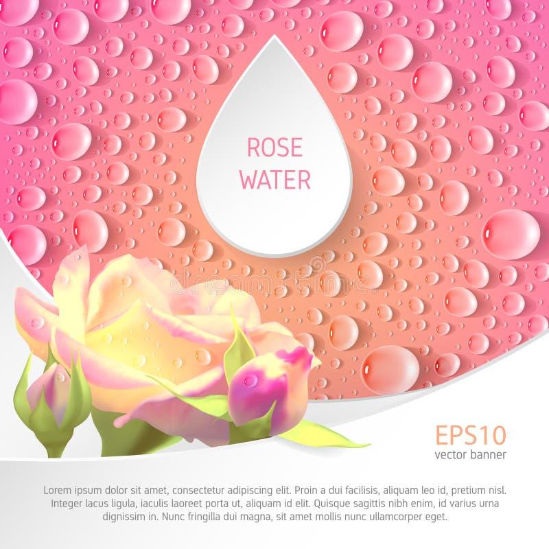 Bannière pour le watter rose illustration stock