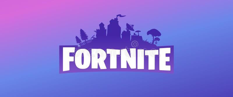 Banni?re pourpre de logo de vecteur de Fortnite sur le fond bleu et rose violet de gradient illustration libre de droits
