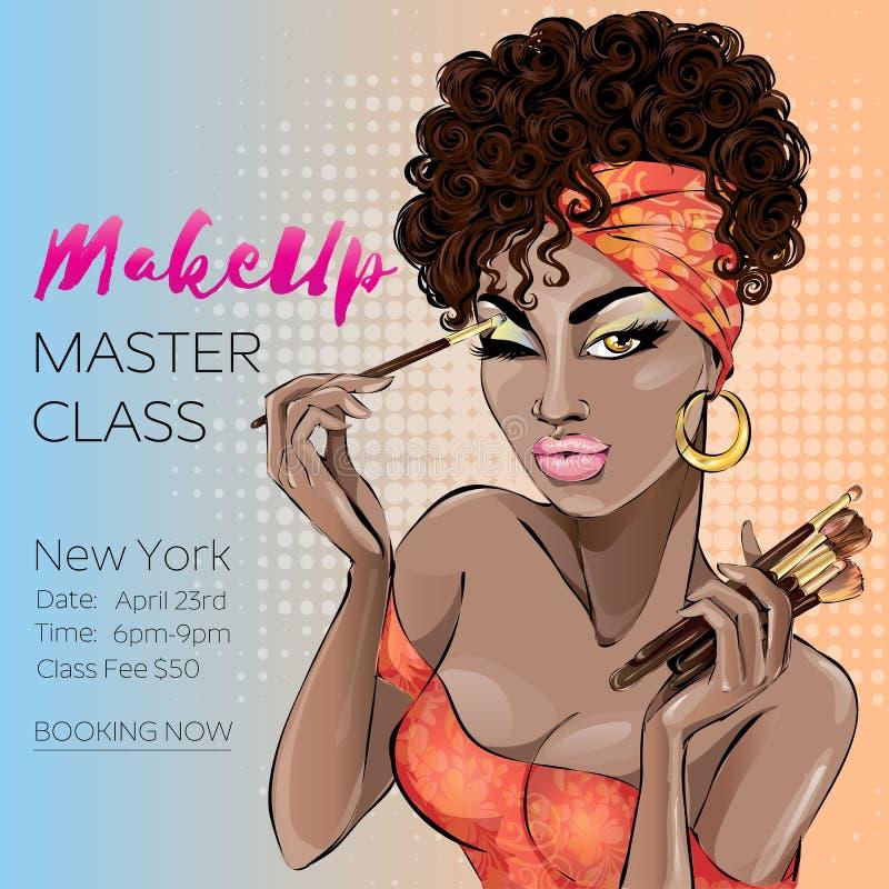 Bannière principale de classe de maquillage avec la belle femme brune de teint, goupille moderne vers le haut de style dame de br illustration stock