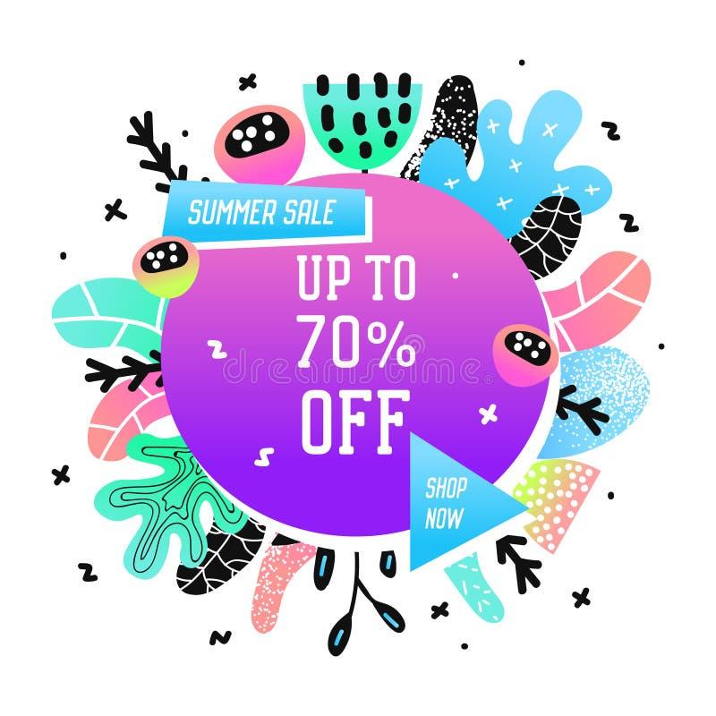 Bannière promotionnelle de vente avec les éléments abstraits Fond floral de promo Insecte promotionnel à la mode d'été, affiche illustration libre de droits
