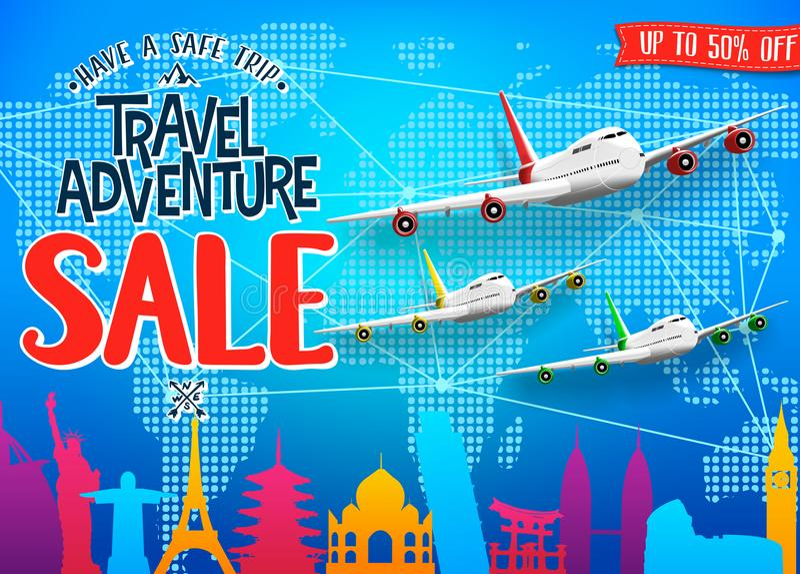 Bannière promotionnelle de voyage de vente créative d'aventure avec la silhouette et les avions de renommée mondiale colorés de p illustration stock