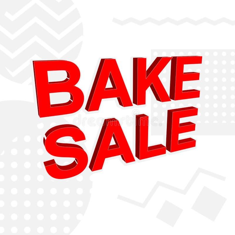 Bannière publicitaire ou affiche avec texte de VENTE BAKE illustration stock