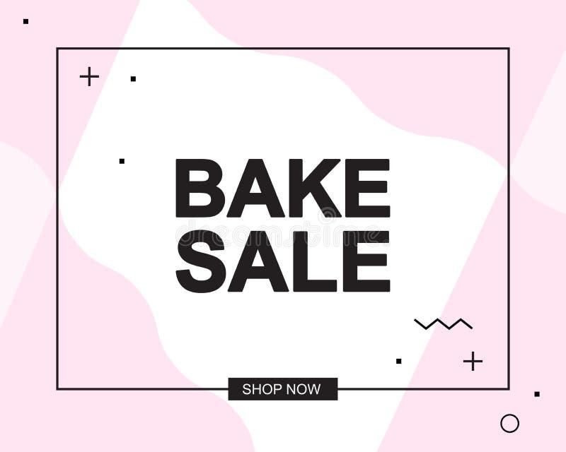 Bannière publicitaire ou affiche avec texte de VENTE BAKE illustration de vecteur