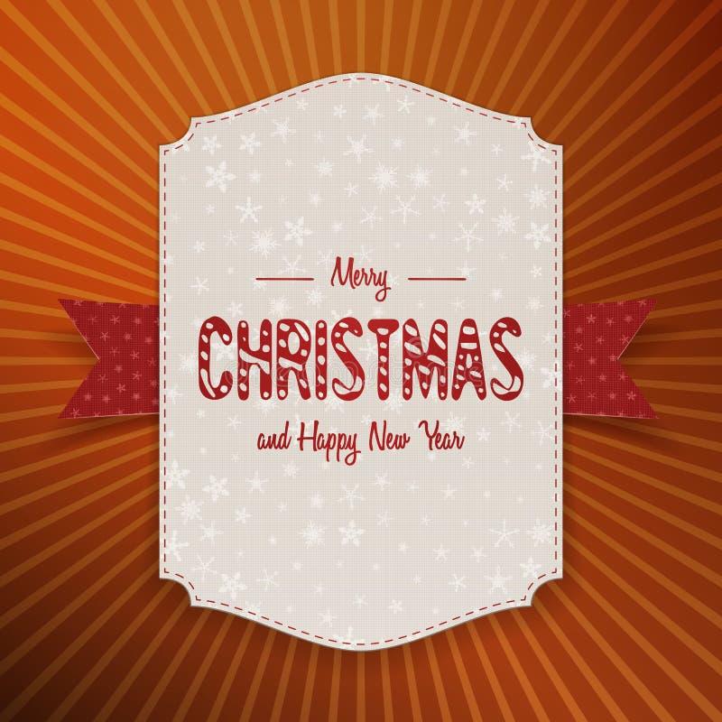 Bannière réaliste de Noël grande avec le ruban rouge illustration libre de droits