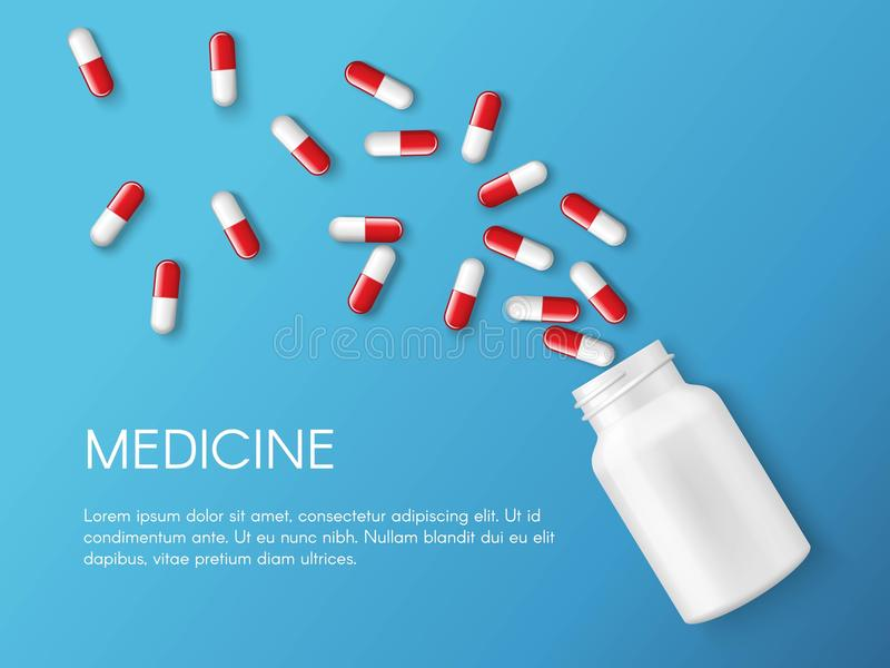 Bannière réaliste de pilules et de capsules de vecteur Médecines, comprimés, capsules, drogue des calmants, antibiotiques, vitami illustration libre de droits