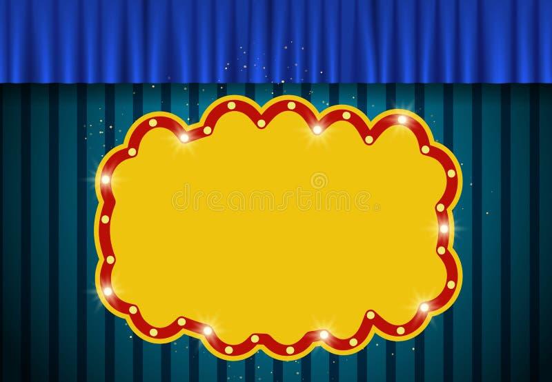 Bannière rétro sur fond bleu vintage avec rideau illustration stock