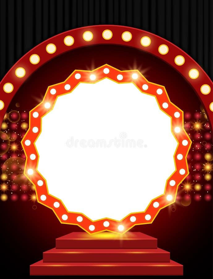 Bannière rétro sur scène avec podium rouge et rideau noir photographie stock libre de droits