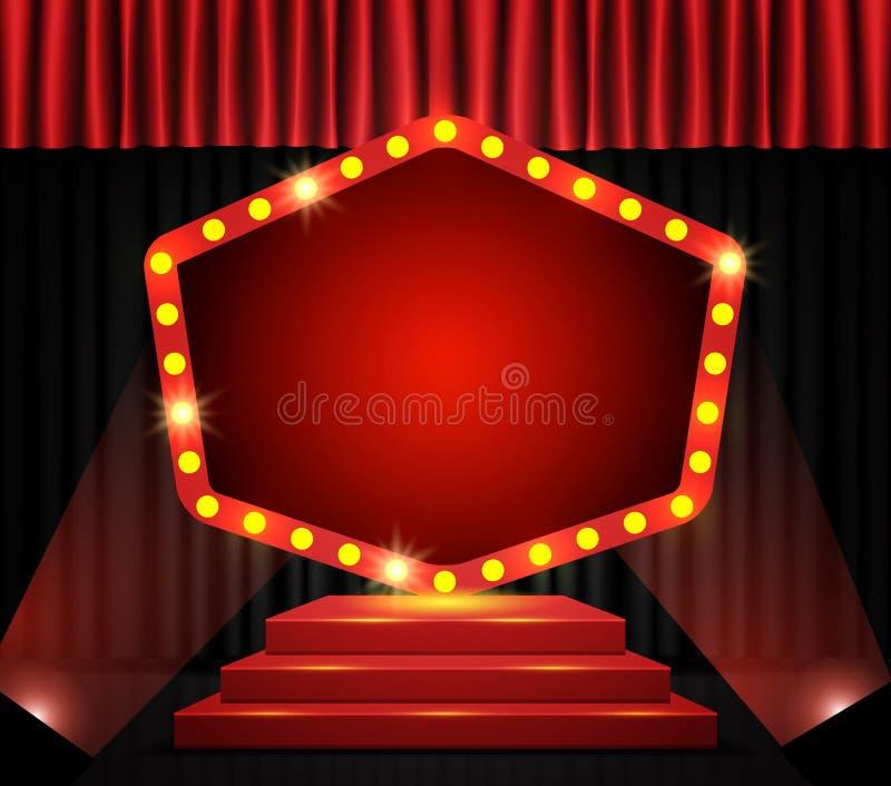 Bannière rétrograde sur le podium et le rideau rouge images stock