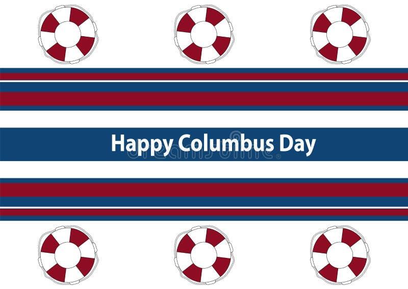 Bannière rayée blanche Columbus Day heureux illustration de vecteur