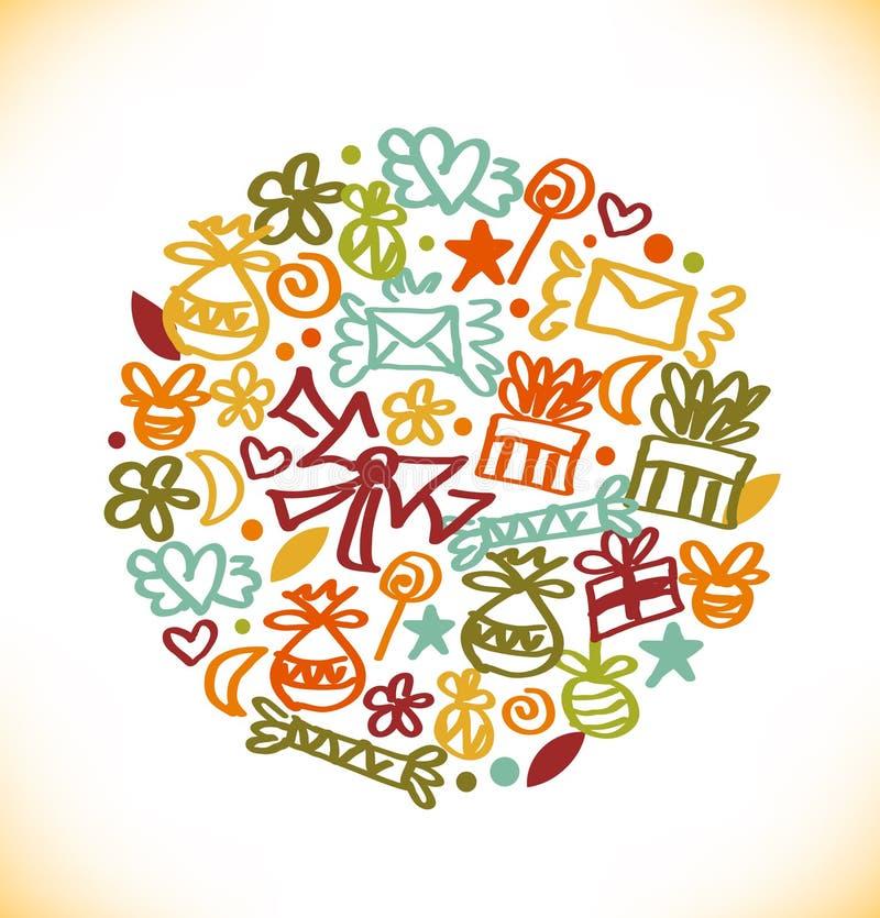 Bannière ronde élégante décorative Image fleurie avec des cadeaux lettres, symboles d'amour, arcs et beaucoup de détails mignons illustration libre de droits
