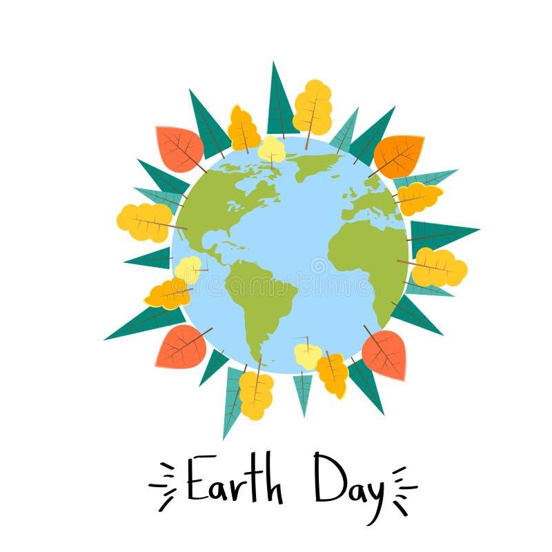 Bannière ronde de globe de concept d'usine d'arbre du monde de jour de terre illustration stock