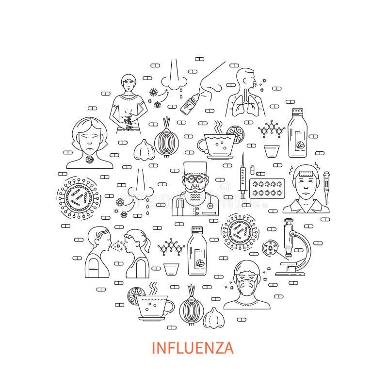 Bannière ronde de prévention de grippe illustration libre de droits
