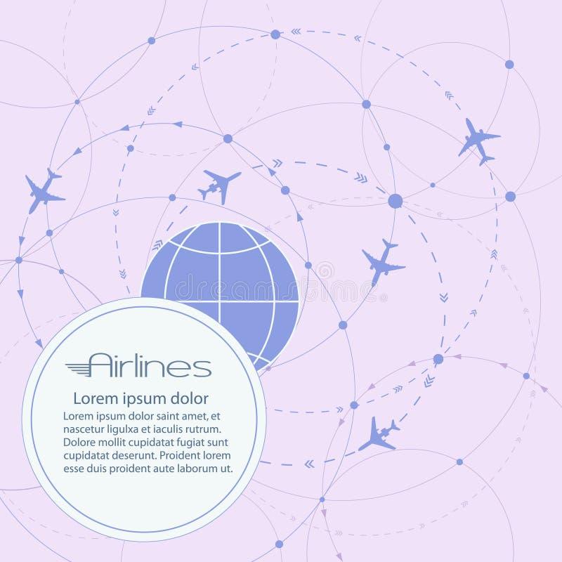 Bannière ronde de vecteur Vol des avions dans le monde entier Transport d'air de passager Visites, loisirs et tourisme d'affaires illustration de vecteur