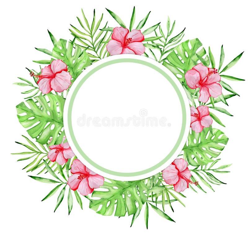Bannière ronde florale tropicale d'aquarelle avec les fleurs rouges illustration de vecteur