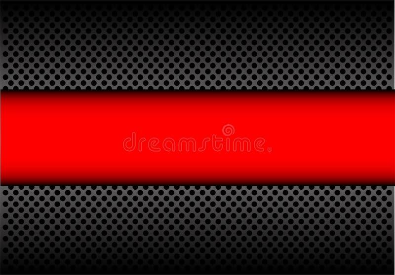 Bannière rouge abstraite sur le vecteur futuriste moderne de fond en métal de cercle de conception gris-foncé de maille illustration de vecteur