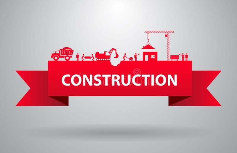 Bannière rouge de construction illustration stock