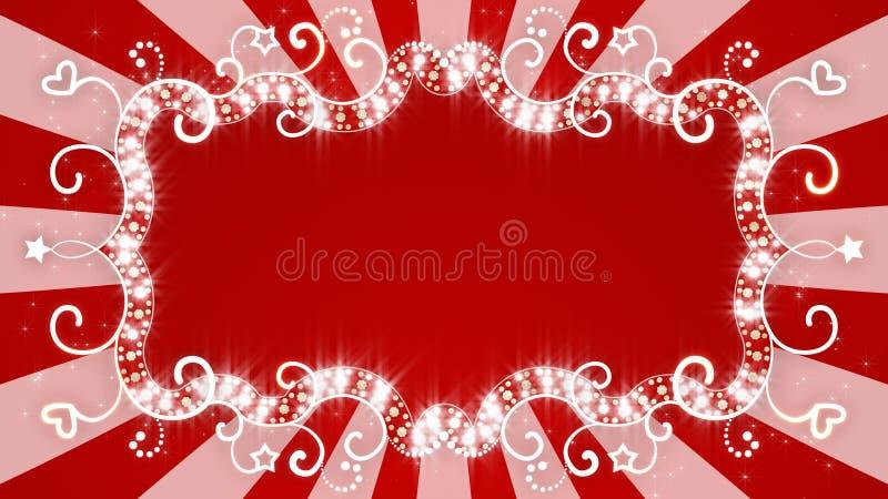 Bannière rouge rougeoyante sur le fond avec des rayons illustration stock