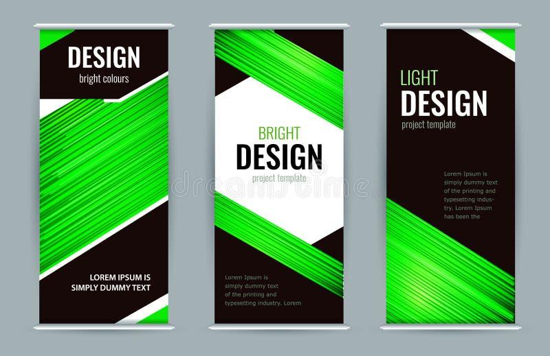 Bannière roulée lumineuse avec des Lignes Vertes sur le fond noir Fond de graphique de vecteur d'abrégé sur conception illustration de vecteur
