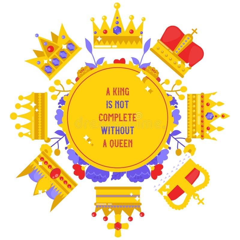 Bannière royale de bijoux, illustration de vecteur d'affiche Couronne la collection Accessoires pour le roi et la reine, le princ illustration de vecteur
