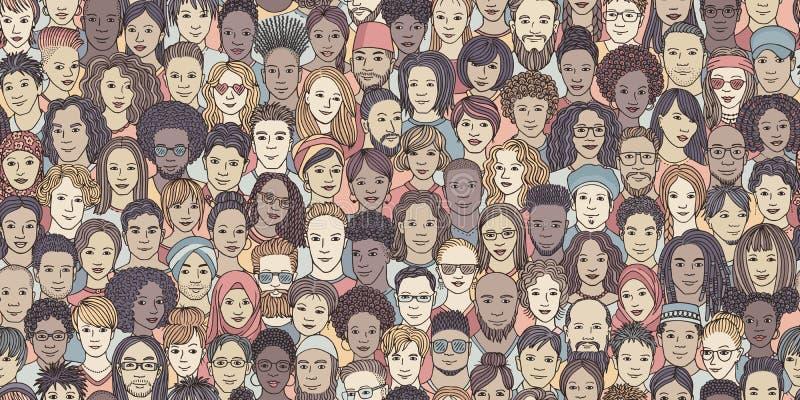 Bannière sans couture des visages tirés par la main divers illustration de vecteur
