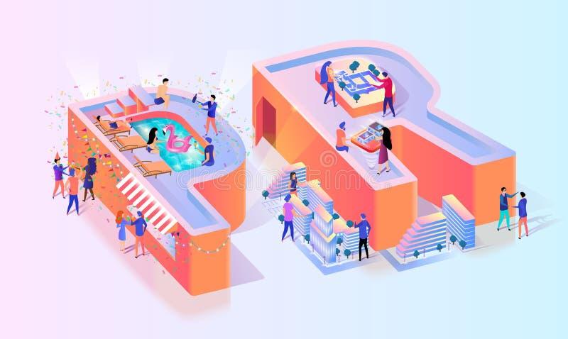 Bannière sociale de typographie de RP Media Communication illustration stock