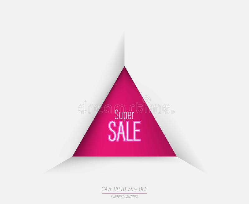 Bannière superbe géométrique de calibre de vente de triangle avec la couleur rose illustration libre de droits