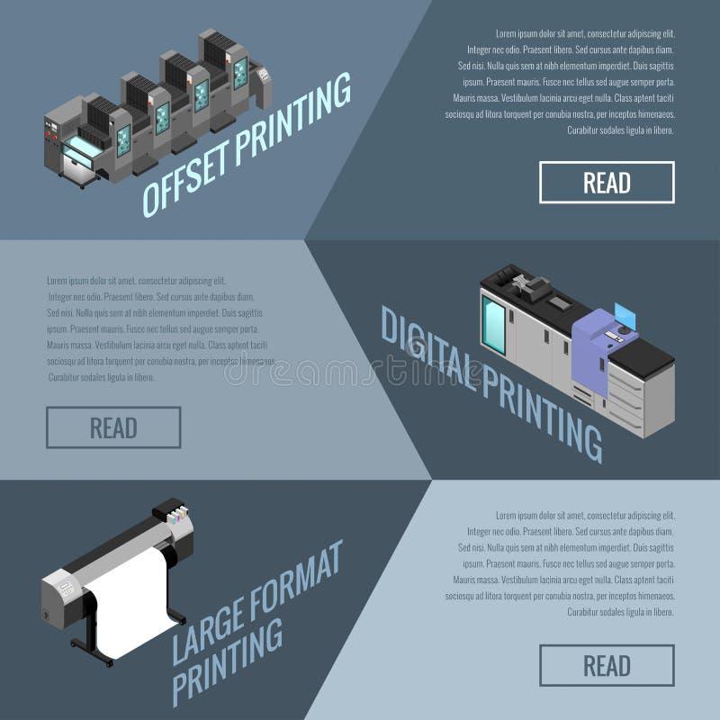 Bannière sur le sujet de la compensation et l'impression numérique des images illustration de vecteur