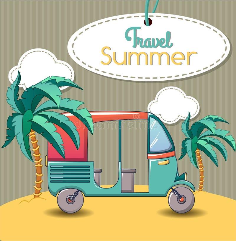 Bannière thaïlandaise de concept de voyage d'été, style de bande dessinée illustration de vecteur