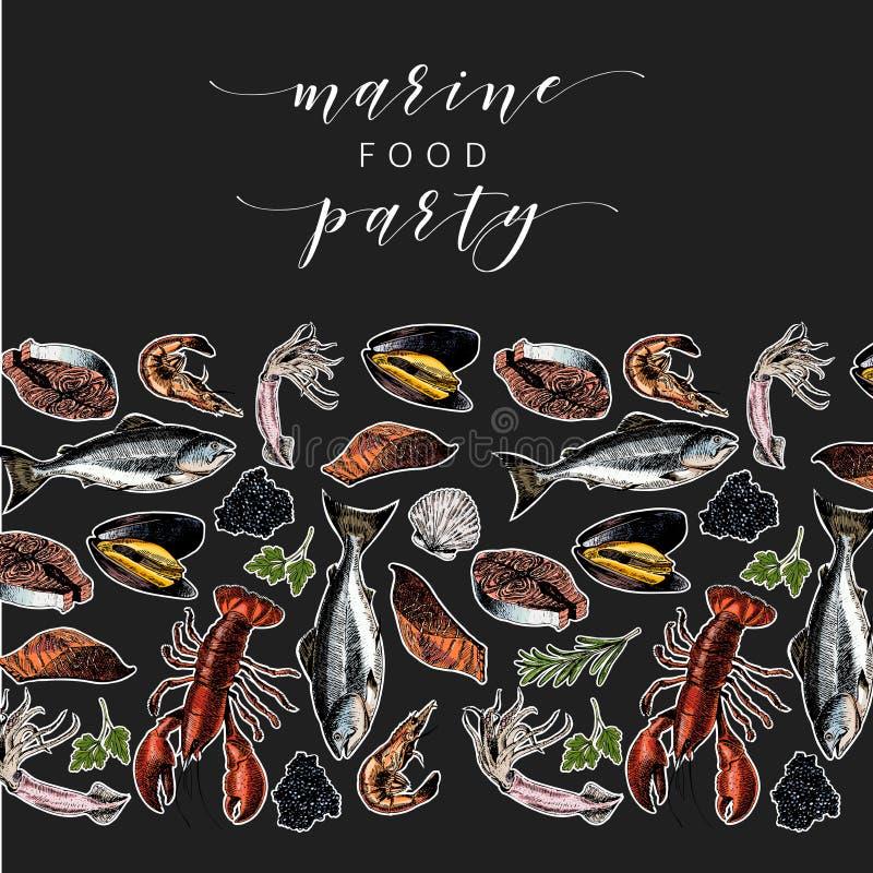 Bannière tirée par la main de fruits de mer de vecteur homard coloré, saumon, crabe, crevette, poulpe, calmar, palourdes Art grav illustration de vecteur
