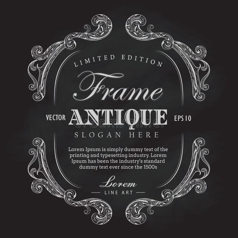 Bannière tirée par la main de label de vintage de tableau antique de cadre illustration libre de droits