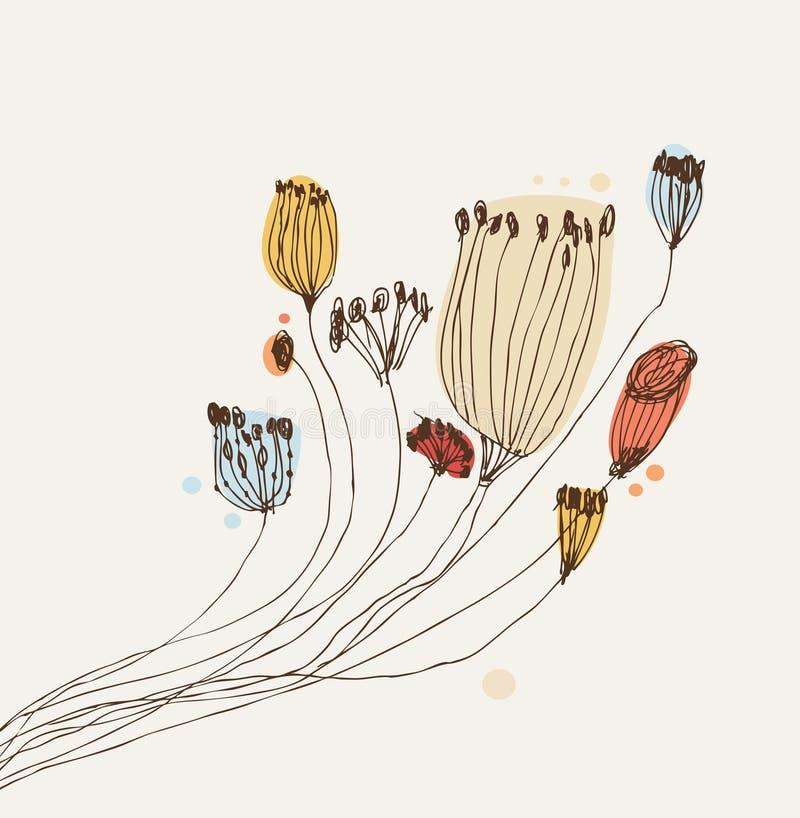 Bannière tirée par la main de vintage avec le groupe de fleurs Peut employer pour des cartes, arts, invitations Fond de flourish  illustration stock
