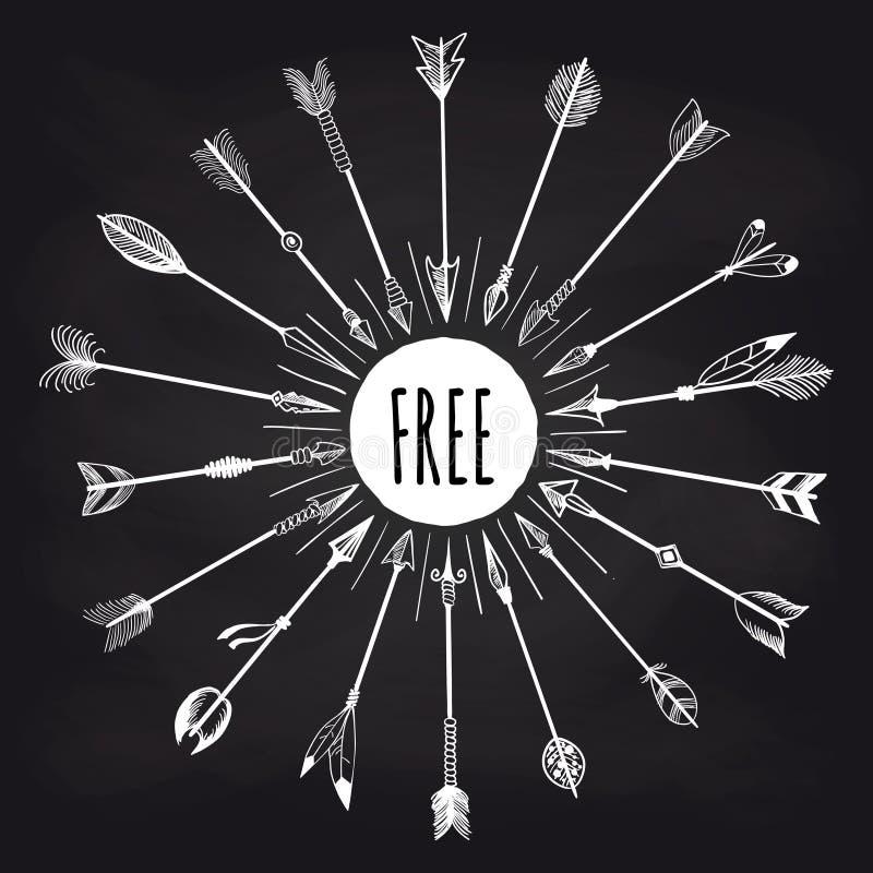 Bannière tribale de flèches sur le tableau illustration de vecteur