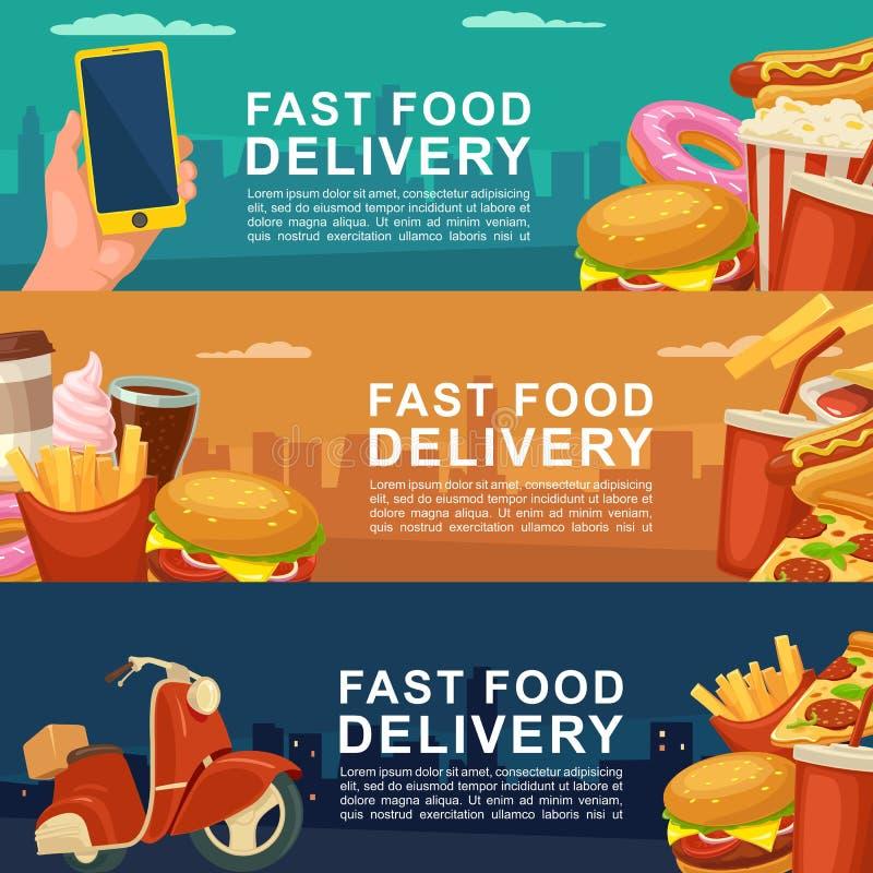 Bannière trois horizontale pour la livraison d'aliments de préparation rapide illustration stock
