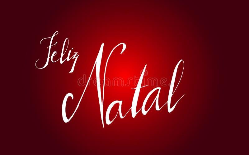 Bannière typographique de Joyeux Noël Inscription - ` de Joyeux Noël de ` dans le ` portugais de Feliz Natal de ` de langue illustration stock