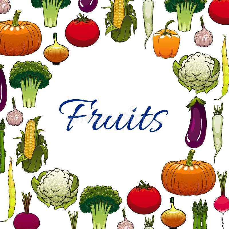 Bannière végétale des icônes de légumes avec l'espace illustration stock