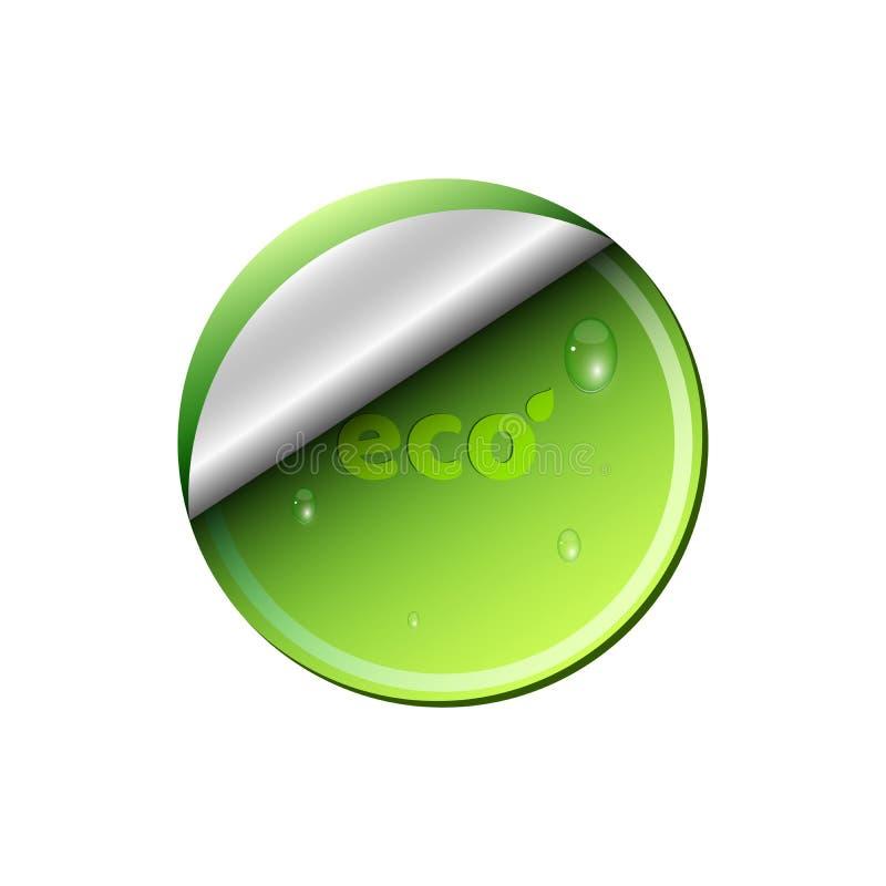 Bannière vert clair écologique d'isolement sur le fond blanc Gouttes de l'eau débordantes Fond pour vos projets Propre et frais illustration libre de droits