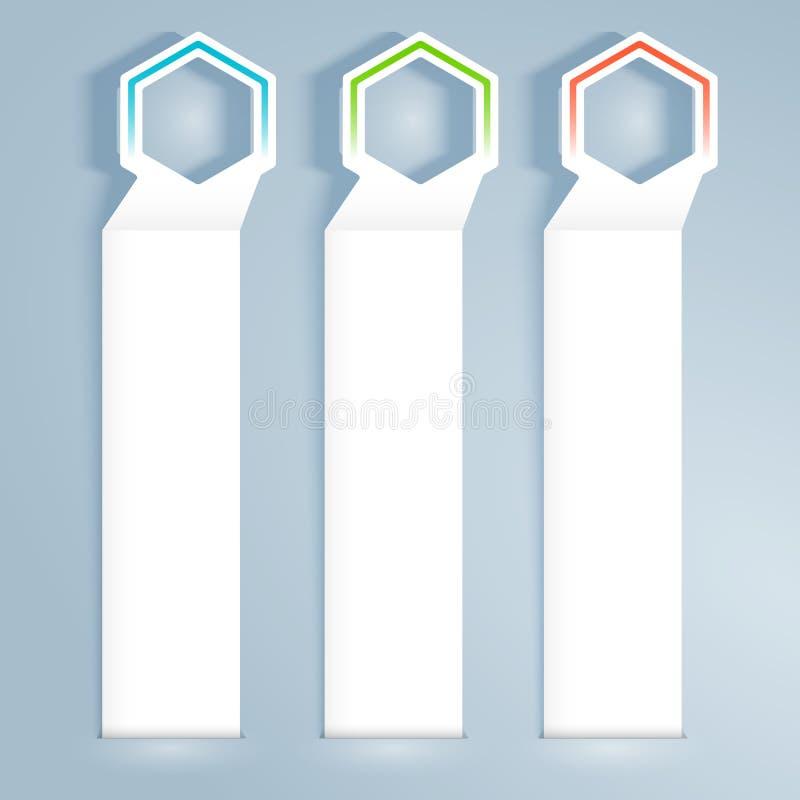 Bannière-vertical-effet-papier-gris-fond illustration libre de droits